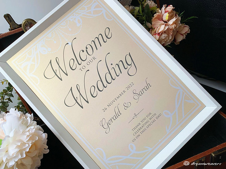 Chandelier Welcome Signage with Frame