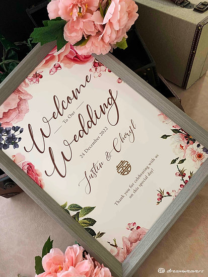 Marsala Blush Welcome Signage with Frame