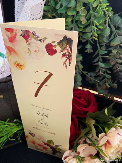 Florie Rouge Table Number