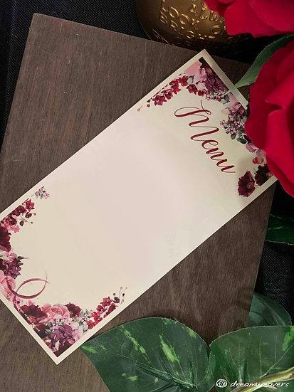 Wine & Dine Bloom Individual Menu (Blank)