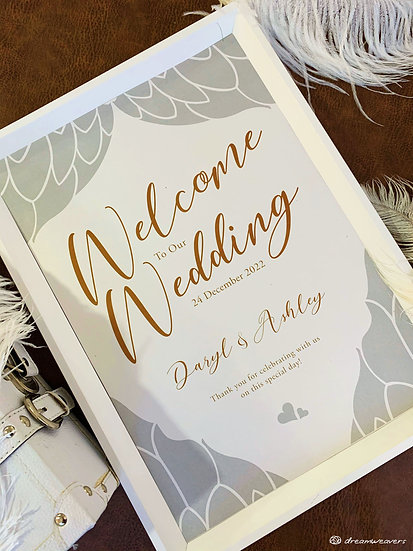 Angelica Love Welcome Signage with Frame