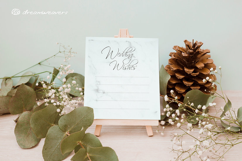 Modern Marble Wedding Wishes Cards [50pcs]