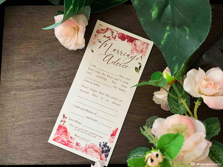 Marsala Blush Marriage Advice Card
