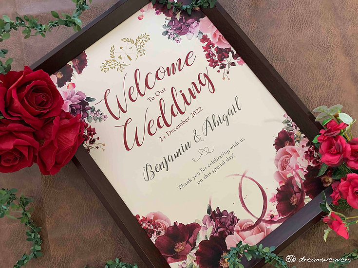 Wine & Dine Bloom Welcome Signage with Frame