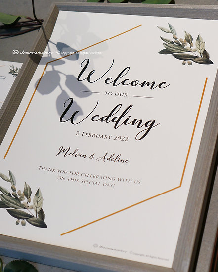 Modern Sage Welcome Signage with Frame