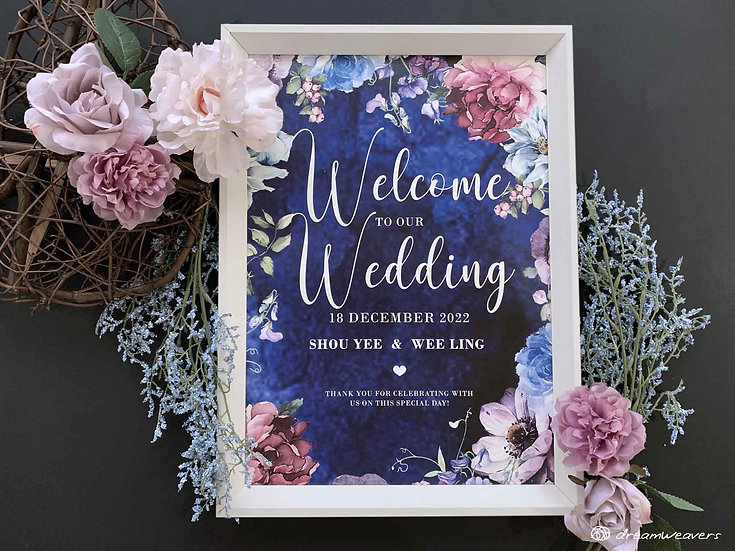 Midnight Summer Welcome Signage with Frame