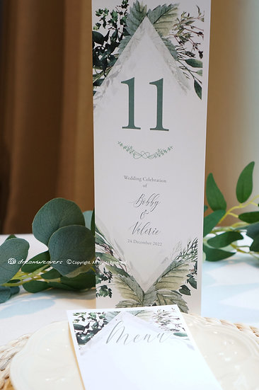 Bliss Thyme Table Number