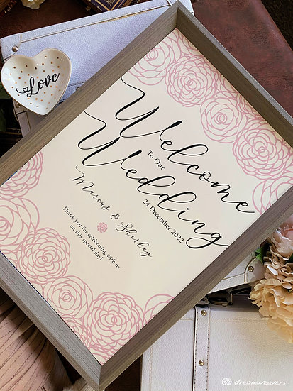 Rosey Welcome Signage with Frame