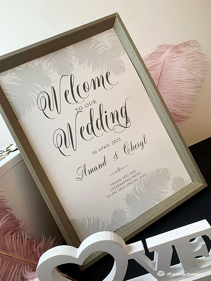 Fine Quills Welcome Signage with Frame