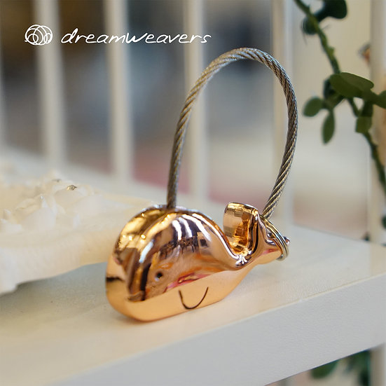 Rose Gold Whale Keychain