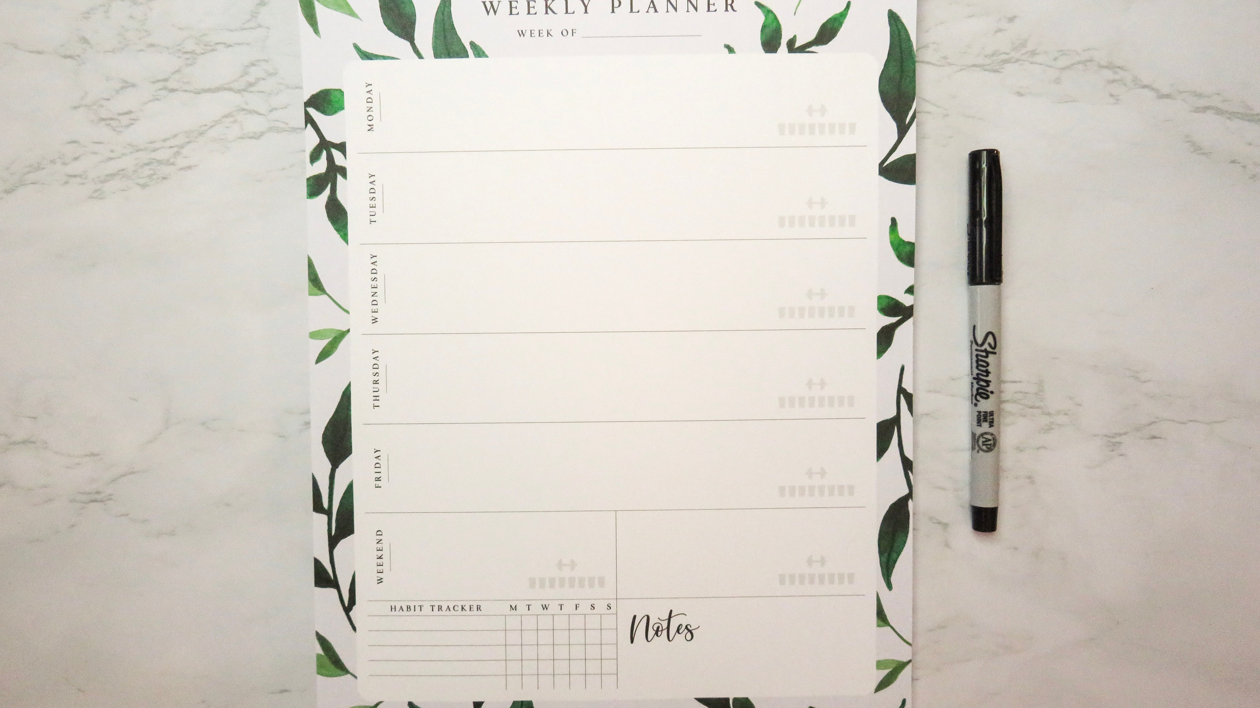 Bliss Collections Weekly Planner Pad with a greenery design