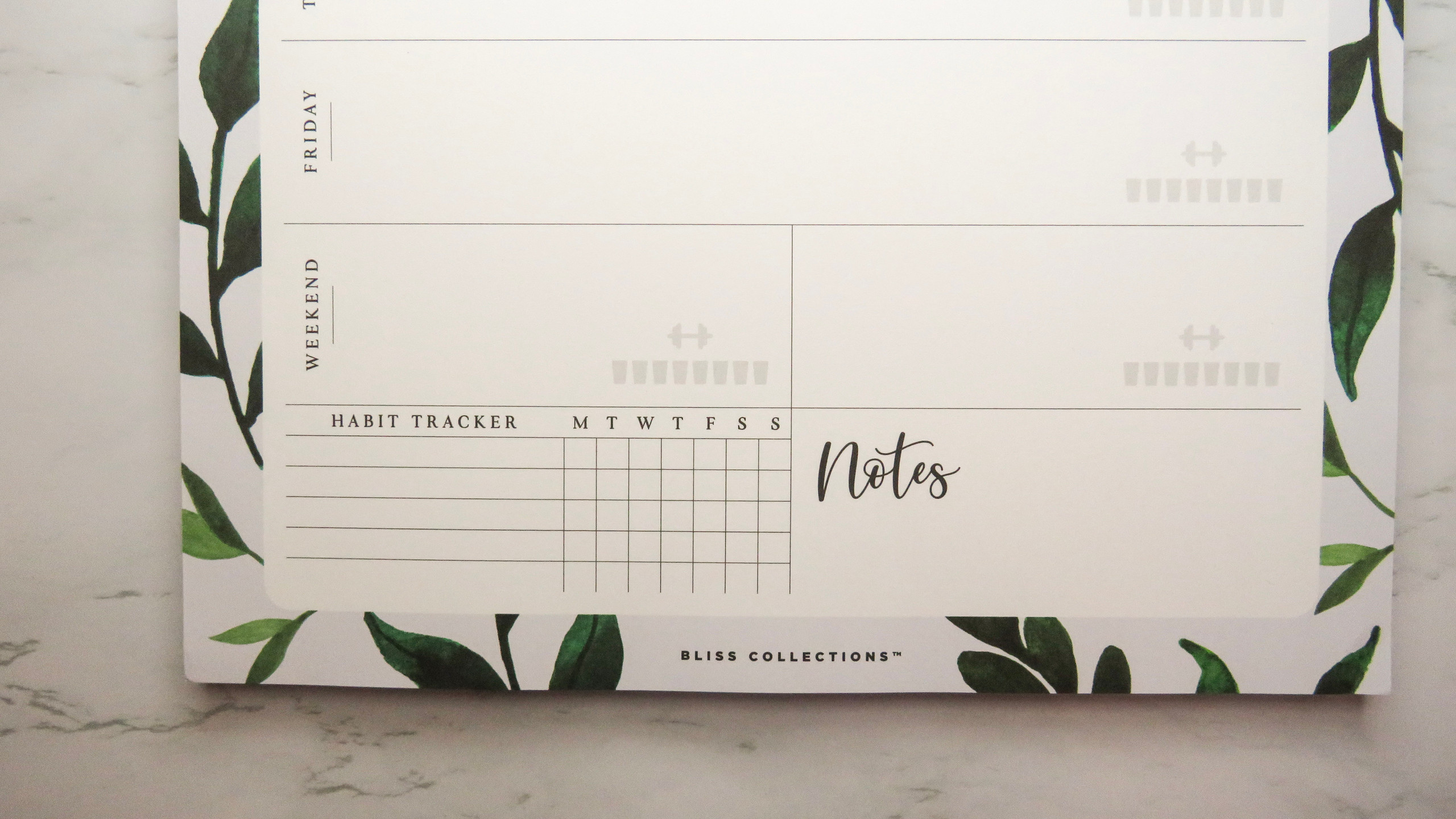 Bottom close up of the Habit Tracker & Notes area of the Bliss Collections Weekly Planner Pad