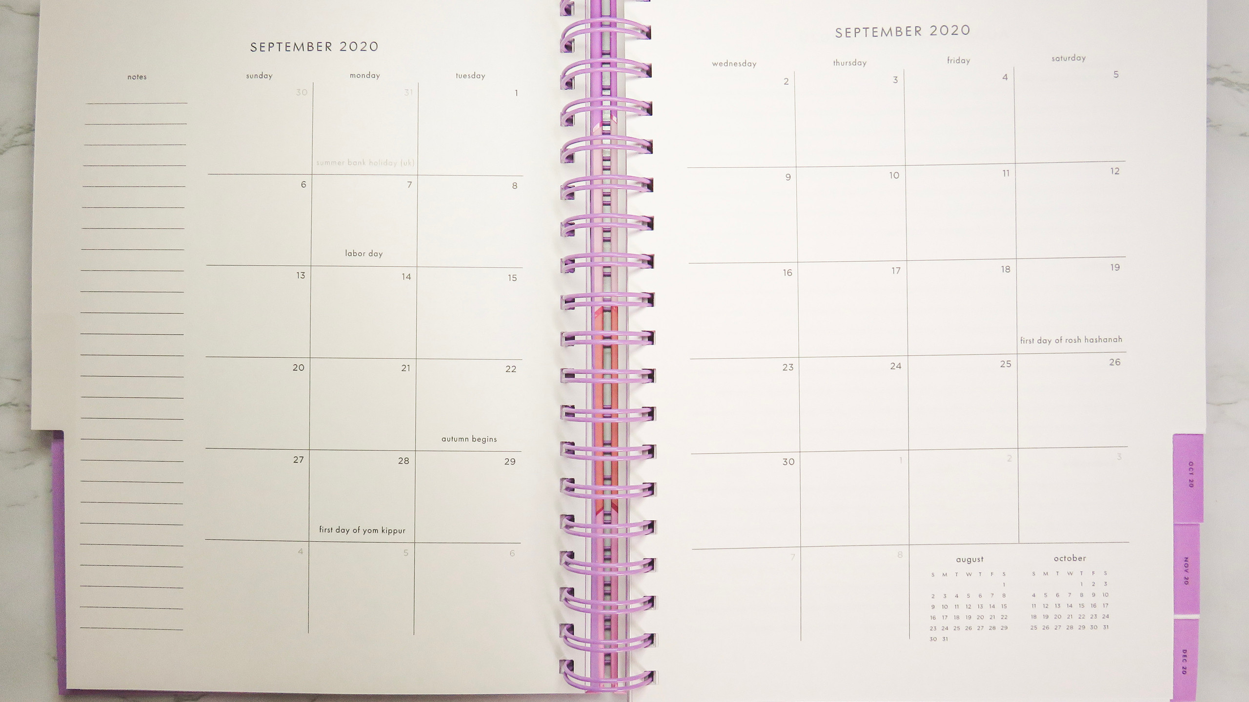 Monthly calendar view of the Kate Spade New York planner