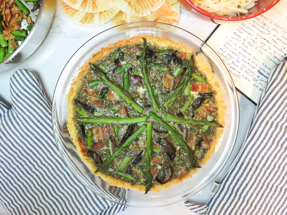 Bacon, mushroom & asparagus quiche with cornbread crust.