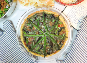 Bacon, Mushroom & Asparagus Quiche with Cornbread Crust
