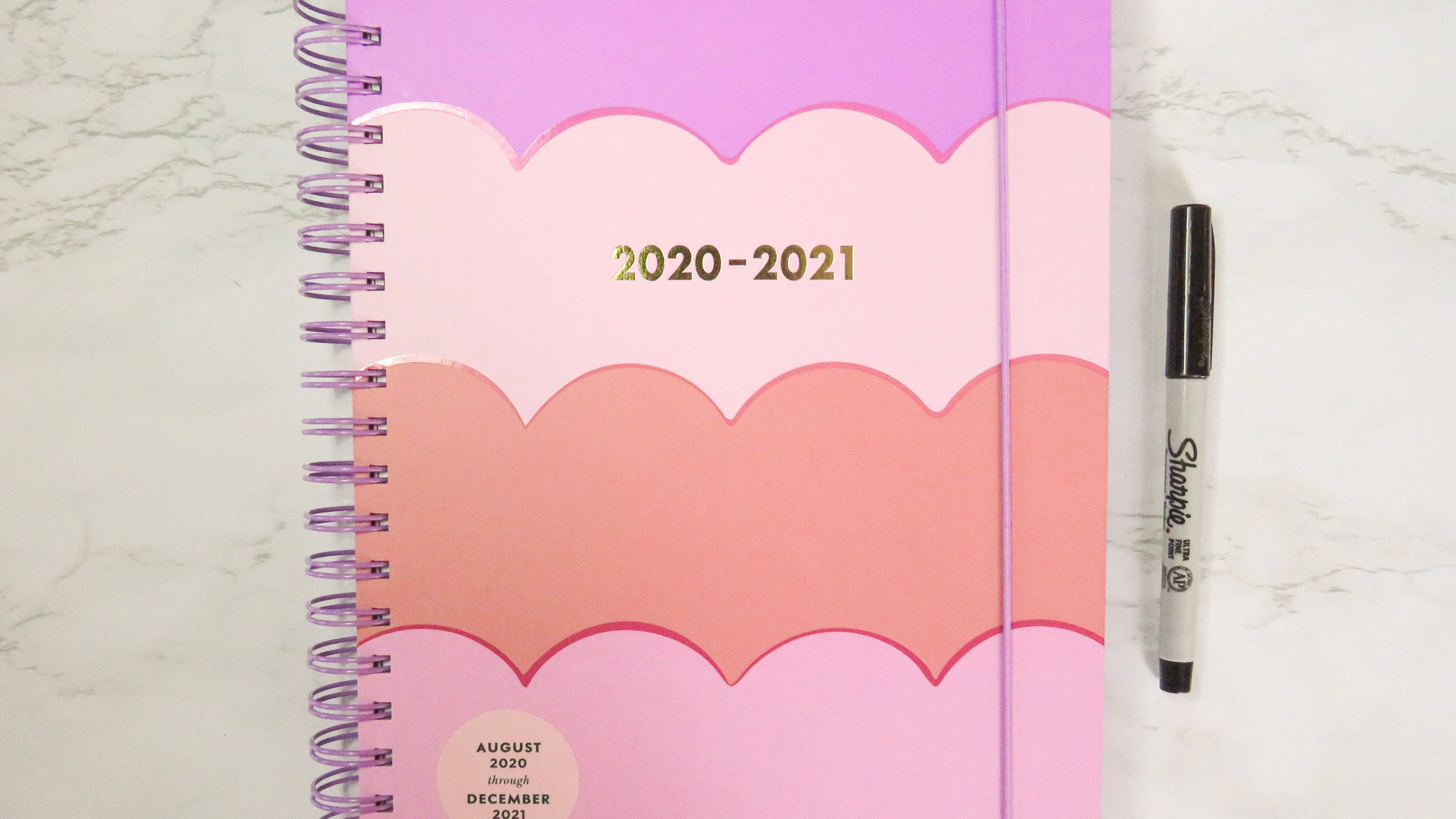 Kate Spade New York Mega 2020-2021 Planner in Pink & Purple Scallop