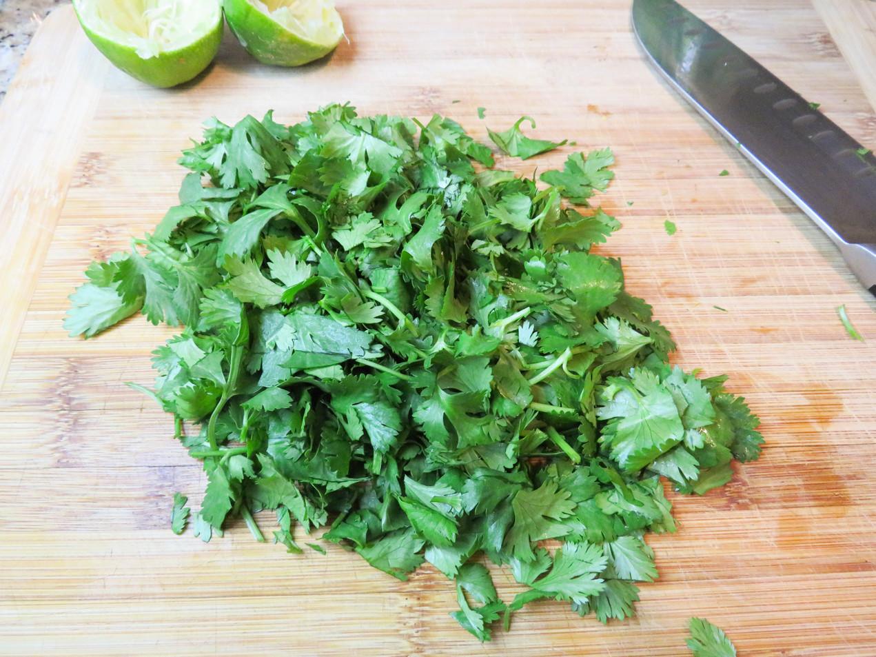 Chopped cilantro.
