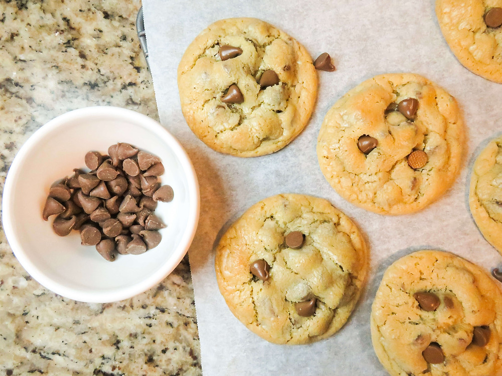 Chocolate chip cookies with added chip toppers