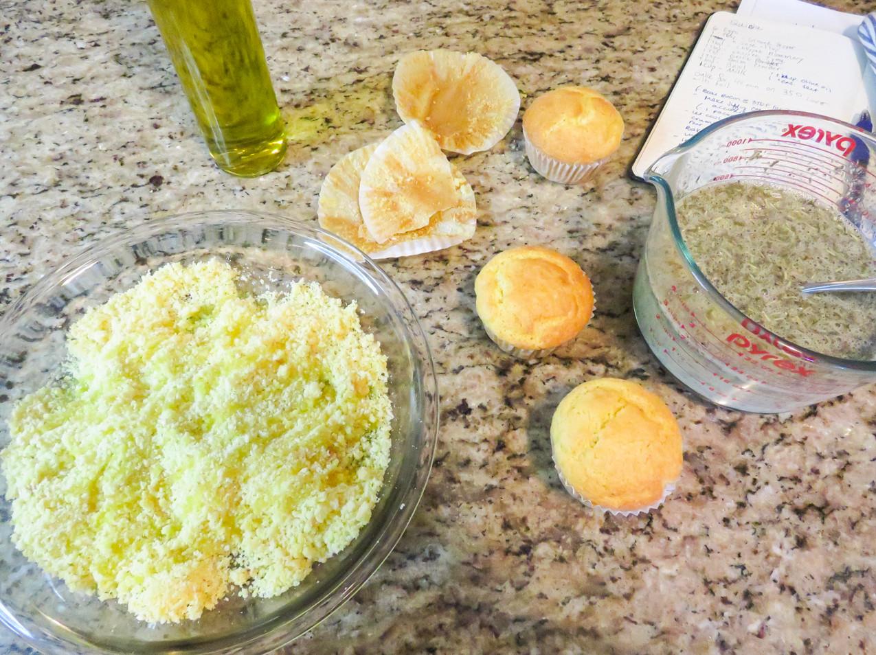 Cornbread muffins crumbled into a pan.