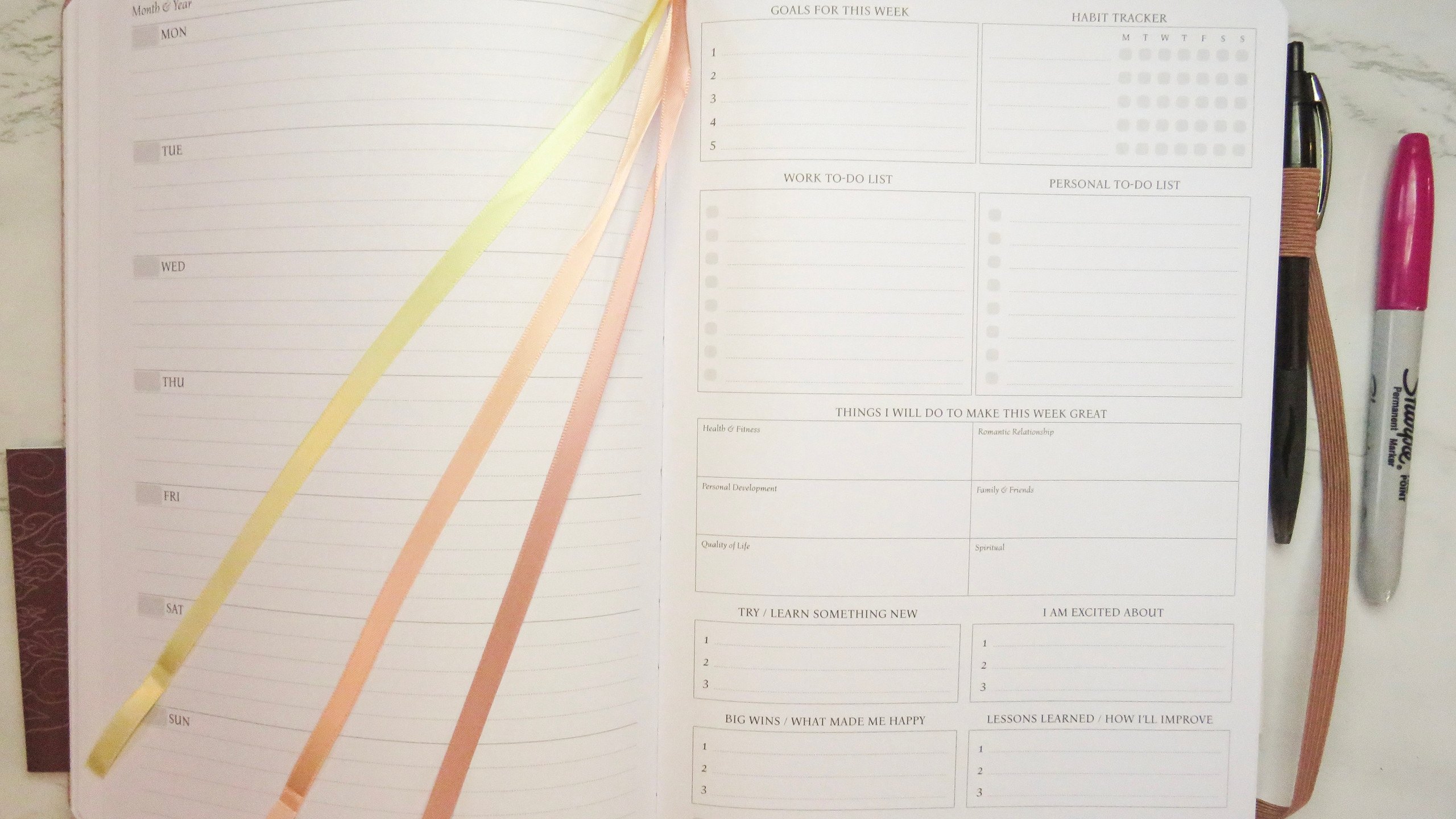 Weekly planning view with weekdays on the left page, and a weekly goals & review page on the right. There are 3 different colored ribbons pictured, too in this Legend Planner PRO.