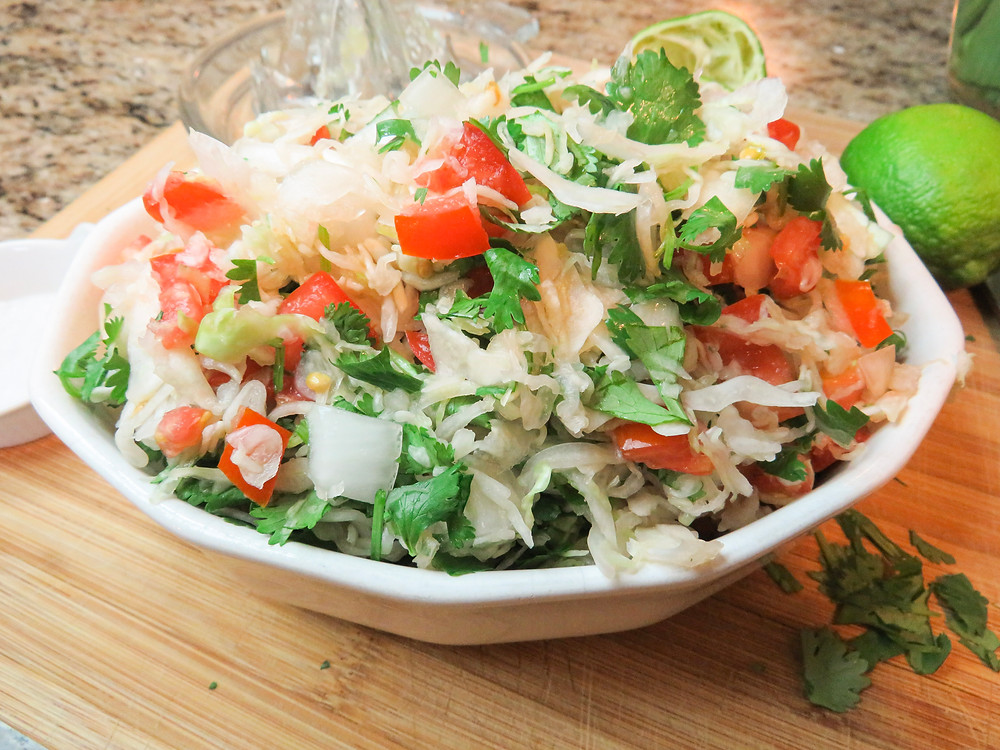 Mexican Slaw finished and ready to serve in a bowl.