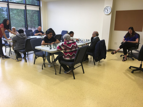 Chess session at Forsyth County Senior Services, Sexton Hall