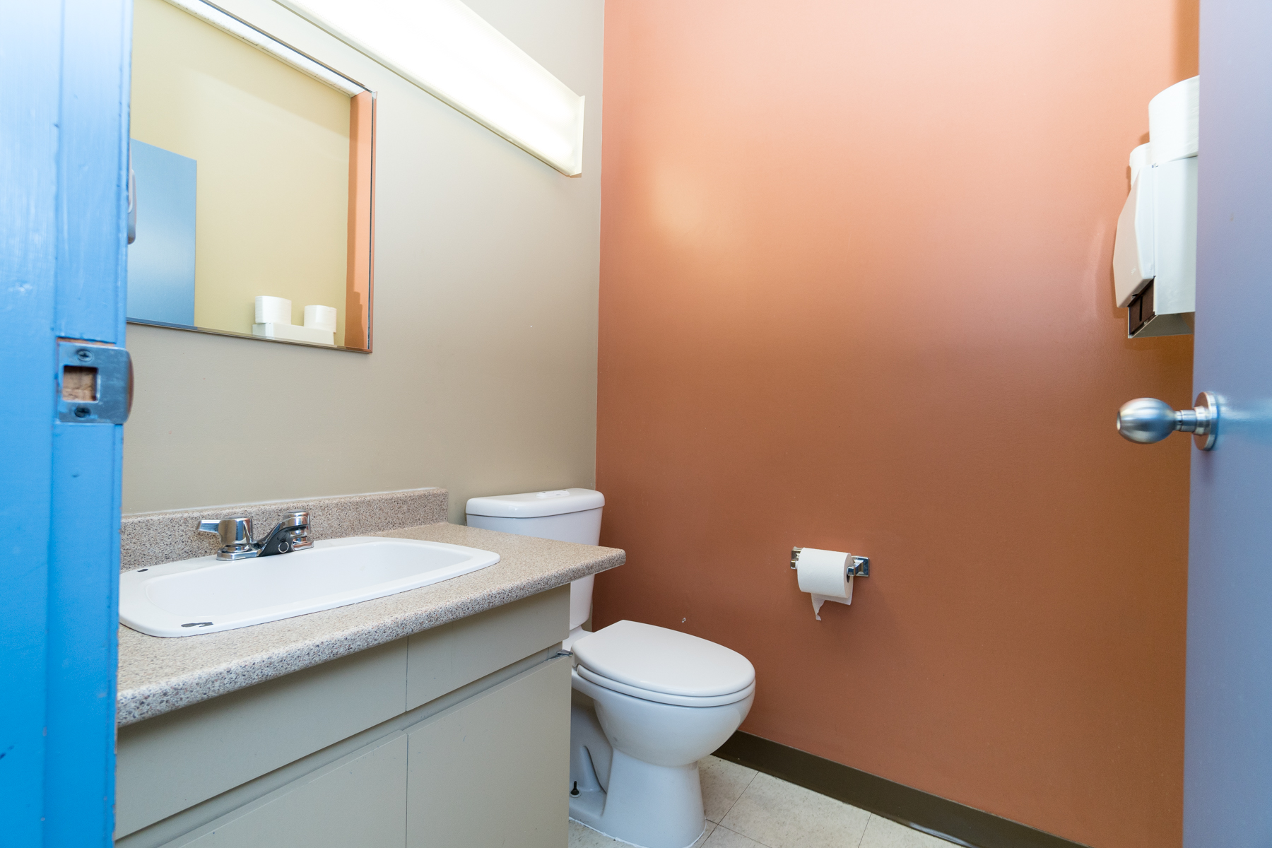 Several washrooms on each floor offer convenient use