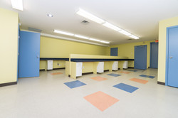 Where have you ever seen such a brightly lit, nicely painted basement work room?