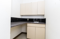 A kitchenette for staff breaks, on the second floor