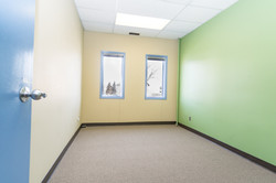 Every office is brightly painted,