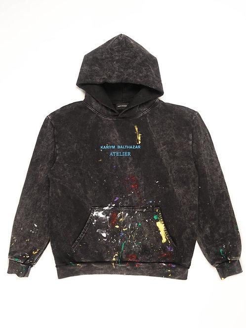 Kariym Balthazar Atelier Paint Splatter Hoodie- Mineral Wash