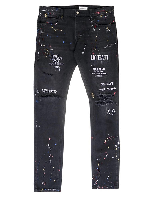 Embroidered Paint Splatter Jeans