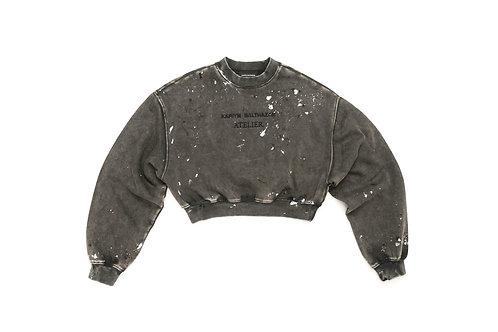 Kariym Balthazar Atelier Paint Splatter Cropped Sweatshirt