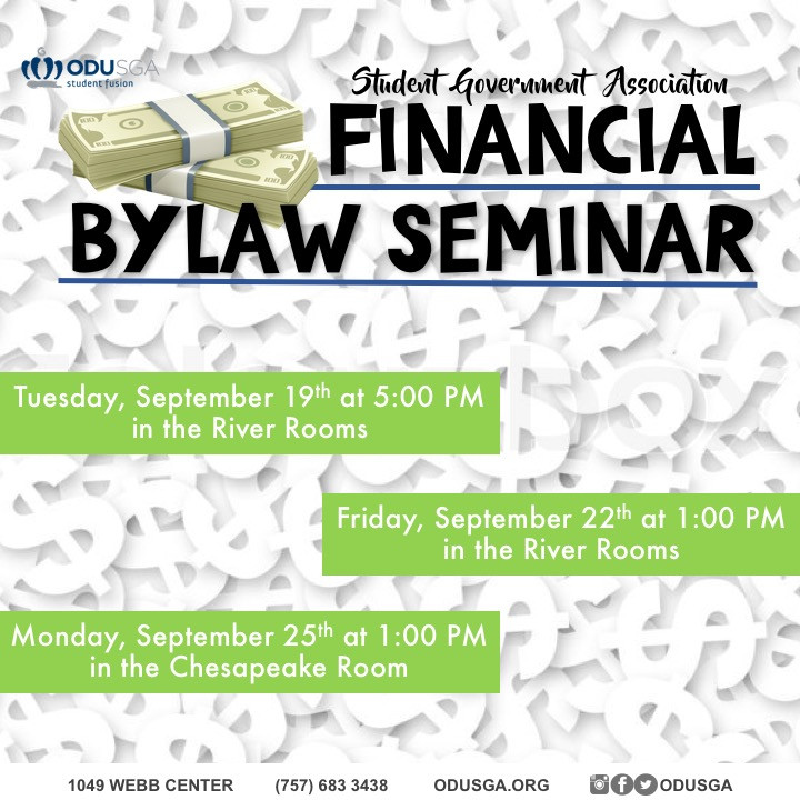 Rafia Haq, Director of Finance, will be hosting Financial Bylaw Seminars to inform student organization members about their budgets.