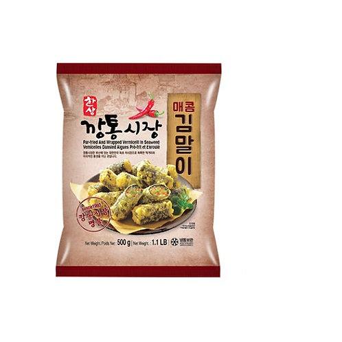 500g 깡통시장 김말이 매운 맛/ Par-Freid And Wrapped Seaweed Roll Spicy