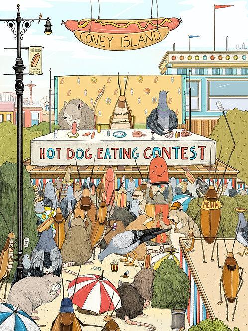 Coney Island Hot Dog Eating Contest (Print)