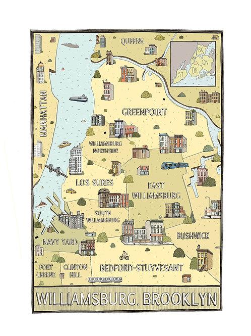 "Map of Williamsburg (8"" x 10"" Print)"