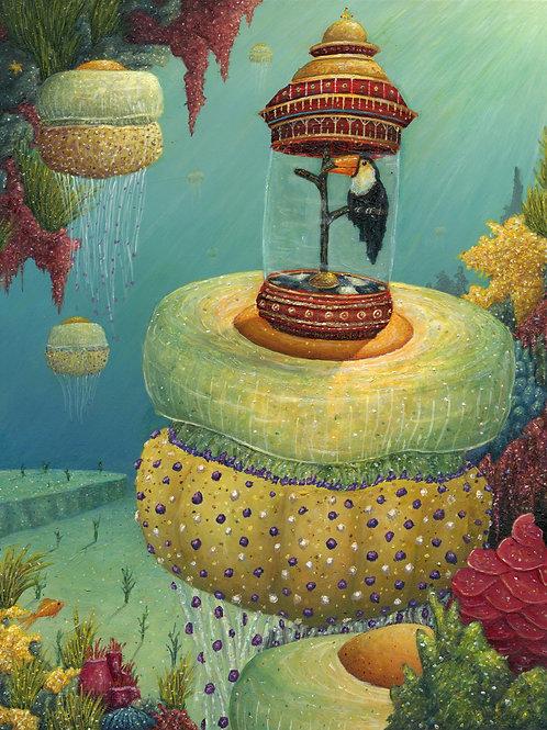 "Toucan Riding Jellyfish (11"" x 14"" Print)"