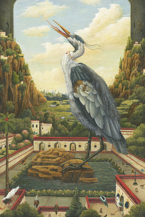 """Great Blue Heron on the Aves Plaza (10"""" x 15"""" Print)"""