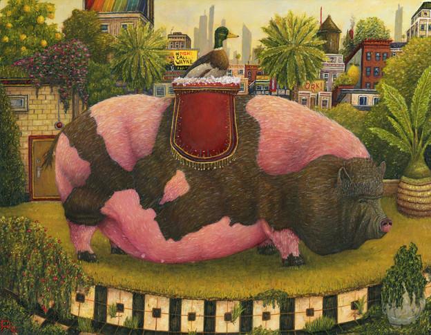 Duck Riding Pot Bellied Pig