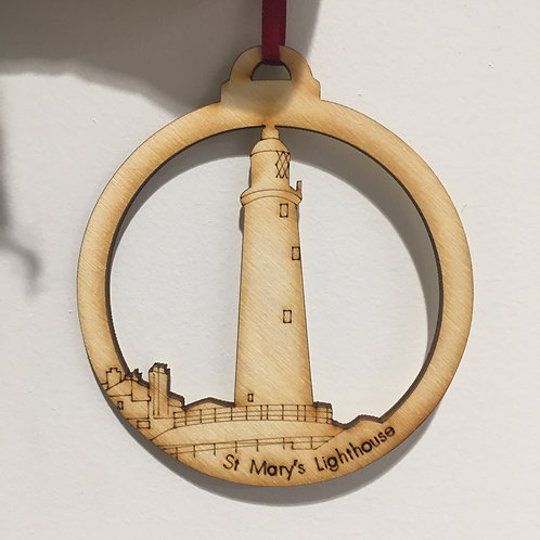 St Mary's Lighthouse Wooden Decoration