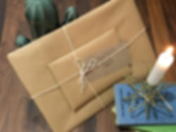North East gifts - brown paper package tied up with string
