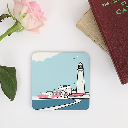 St Mary's Lighthouse Pink Coaster