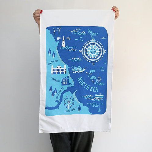 Mouth of the Tyne, South Shields to Whitley Bay Organic Tea Towel
