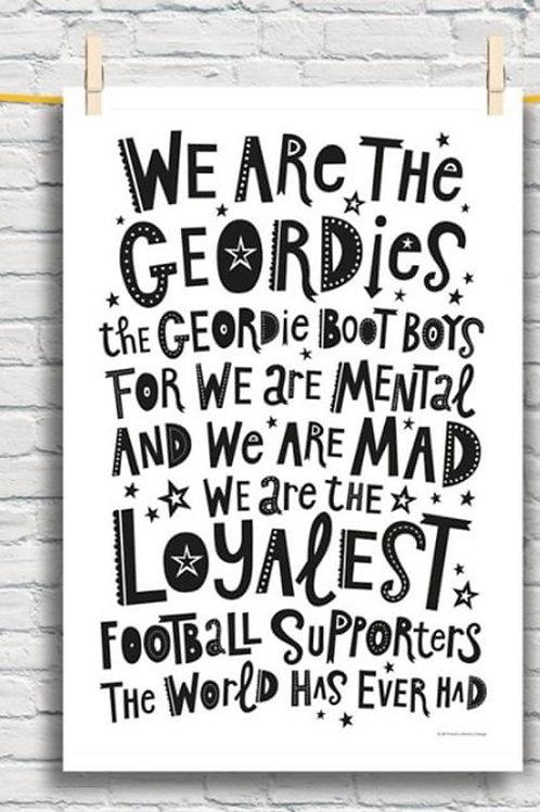 We are the Geordies tea towel