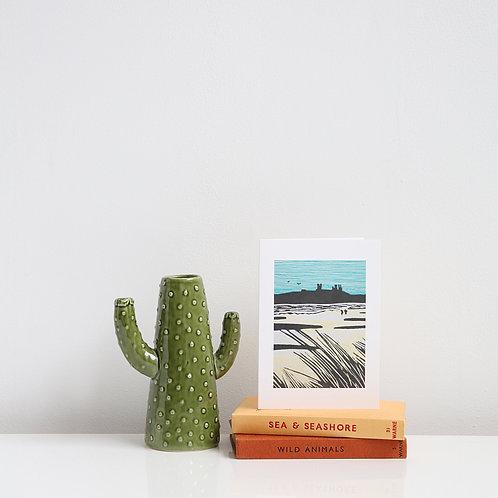Dunstanburgh Castle and beach card