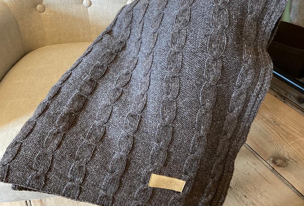 Strickdecke Zopf granitbraun