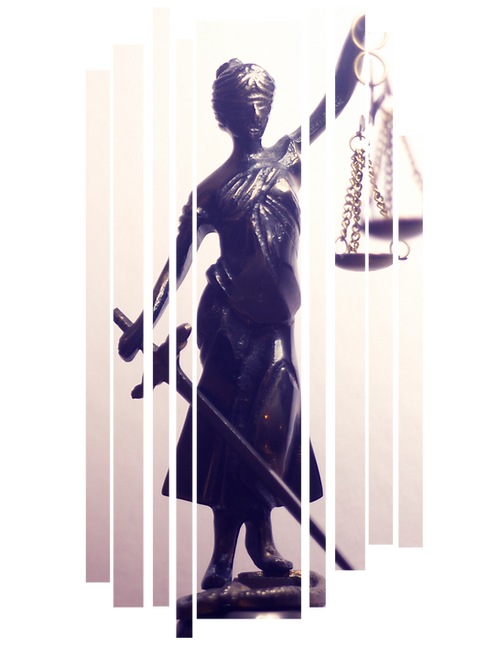female attorney with weights staute