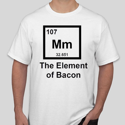 The Element of Bacon: White with Black Lettering