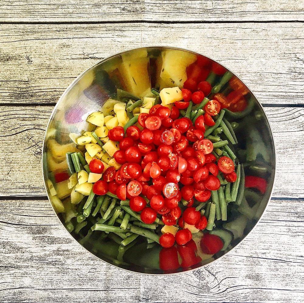 Kartoffel-Fisolen-Salat - noch ohne Marinade